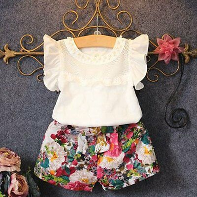 2PCS Kids Baby Girls Outfits T-shirt Tops+Floral Short Pants Shorts Clothes Set