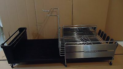 Sabatier Expandable Compact Dish Rack with Wine Glass Holder, Stainless