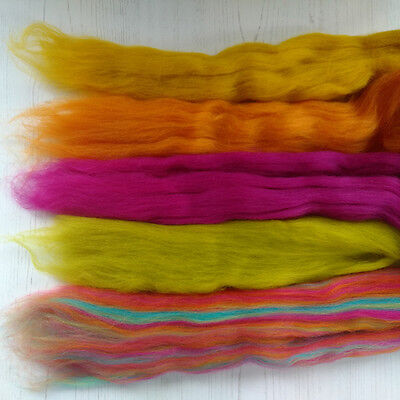 Merino Wool Roving Pack, mixed colours, spinning, felt making, wool tops, 100g