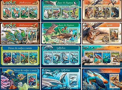 Birds Turtles Cats Dolphins Fishes Corals Fauna Sao Tome MNH stamp set 12 sheets
