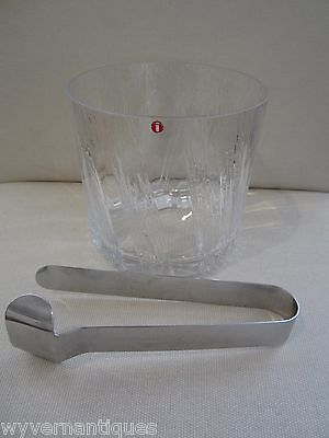 "Rare Iittala ""Kuura"" Glass Ice Bucket & ""Aarne"" Steel Tongs, Wirkkala & Hongell"