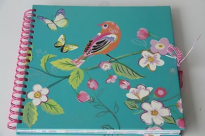 Scrapbooking Album: Turquoise Bird Design on cover with pink ring binding & tie