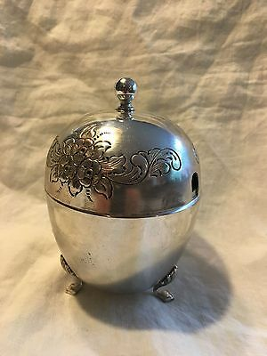 Antique English Ornate Silverplated Footed Egg shaped Sugar Bowl
