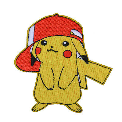 """POKEMON GO PIKACHU w/ RED HAT PATCH EMBROIDERIED IRON ON APPLIQUE 2.7""""X3.5"""""""