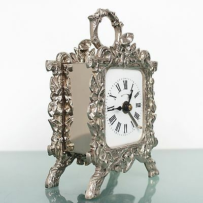 JAPY FRERES Alarm Mantel TOP!! Clock Silver/Nickel French Antique FIXED PENDULUM