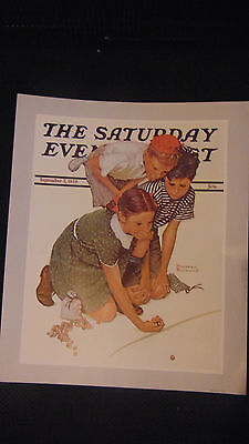 "Vtg New 1983 Print Norman Rockwell Saturday Evening Post ""Playing Marbles 9/2/39"