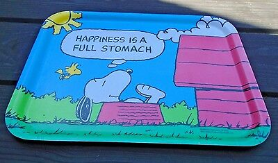 """Rare Vintage Snoopy Tray """" Happiness is a full stomach """" 1965 15.5"""" x 11"""""""