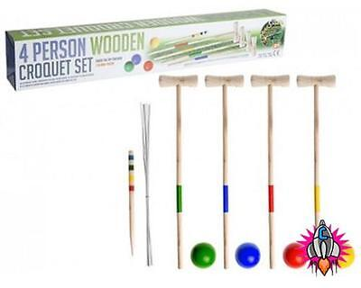 Retro 4 Person Wooden Classic Croquet Set Garden Sports Game