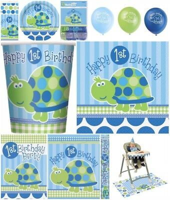 FIRST 1st BABY BOY TURTLE THEME HAPPY BIRTHDAY PARTY TABLEWARE DECORATIONS