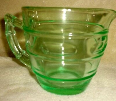 Vintage Green Depression Vasoline Uranium Glass Creamer Bamboo Optic?
