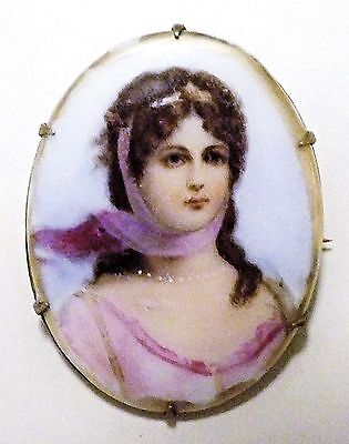 "Baroque (1650-1800) Hand-Painted ""Heartbreaker"" Brooch w C-Clasp & Extended Pin"