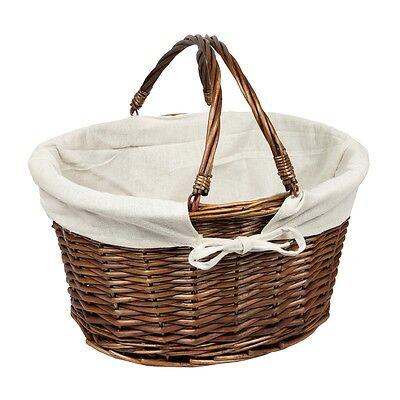 Woodluv Oval Wicker Hamper Storage Picnic Shopping Basket With Handles - Brown