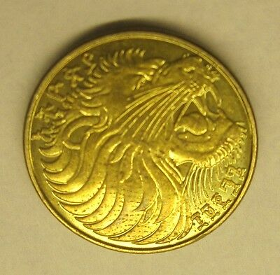 Ethiopia 5 Santeem Cents Coin - LION