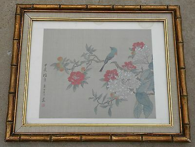 Vintage Asian Chinese Watercolor Painting on Silk Signed Bird Gold Bamboo Frame