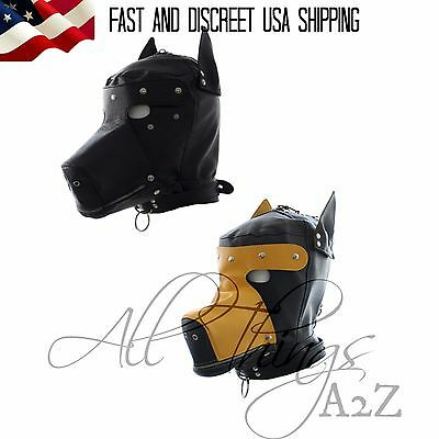 GIMP DOG Puppy Hood Full Mask Party Unisex Costume ZIPPED MUZZLE  Blindfold