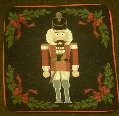 Needlepoint Pillow Cover NUTCRACKER Christmas Soldier zippered Cushion Holder