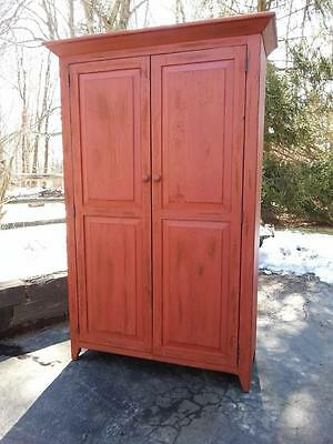 Antique Amish Handmade Unfinished Reclaimed Barn Wood Armoire Wardrobe Cabinet