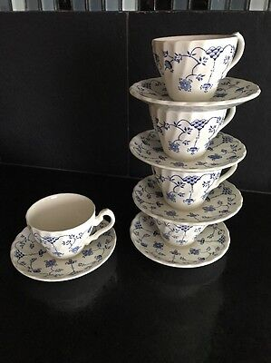 5 MYOTT China FINLANDIA Tea CUP SAUCER SETS Blue Swirl LOT Staffordshire ENGLAND