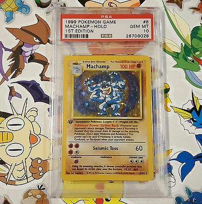 PSA 10 Machamp 1st Edition 8/102 Holo Pokemon Card Base Set GEM MINT