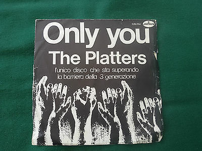 """THE PLATTERS - Only You / The Great Pretender RARE 45 rpm 7"""" Made in ITALY 1972"""