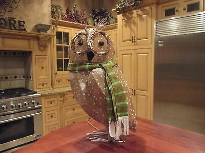 Large Burlap wrapped, Lighted Owl for Yard or Inside Display Over 2 Feet Tall