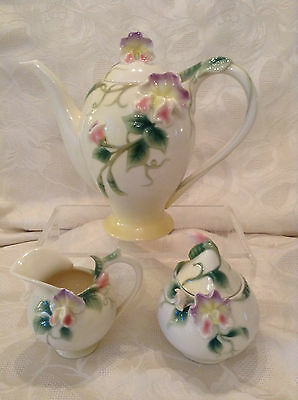 Franz Porcelain Beautiful Large Sweetpea Teapot,sugar,milk. Perfect Condition