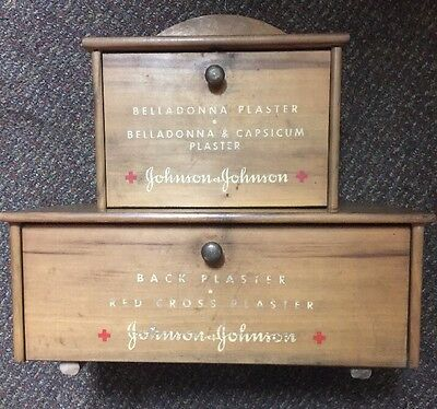 Vintage Johnson & Johnson  Red Cross Plaster Stock & Display Cabinet. All Wood