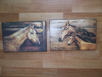 "Greg Giordano Horse Wall Picture Primitive Country Farm Rustic 12"" x 8"" Lot of 2"