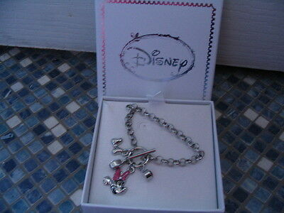 Disney Minnie Mouse Charm Bracelet Diamantes Bow Brand New Gift Boxed Half Price