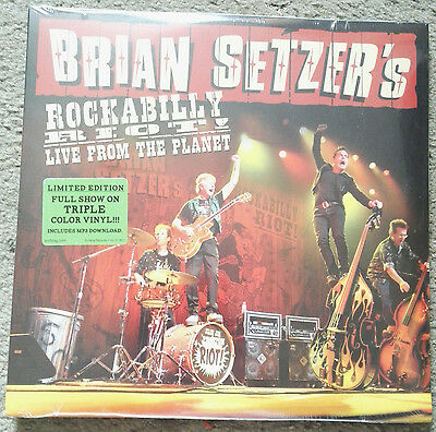 brian setzer -rockabilly riot live from the planet triple coloured  LP sealed !