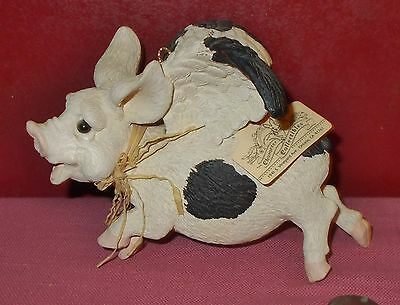 Character Collectables HANGING FLYING PIG FIGURINE Heavy Resin When Pigs Fly