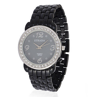 Ladies Watch Strada Black Band Austrian Crystal Wrist Watch Analog New Women