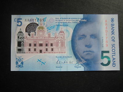 Great Britain - Bank Of Scotland £5 New Polymer 25.03.2016 - Aa Serial - Unc