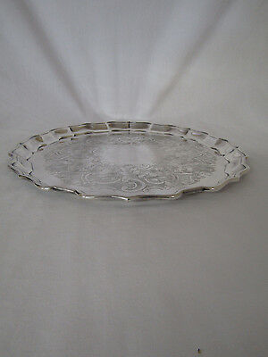 Birks Regency Silver Plated Scalloped Edge Chased Rd Serving Tray(#5010)