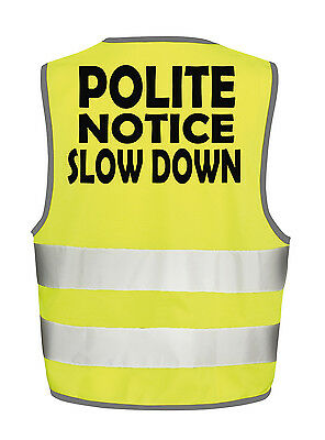 Polite Notice Slow Hi Visibility Vest Equestrian Safety Tabbard Waistcoat Horse