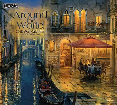 Around The World - 2018 Deluxe Wall Calendar - Brand New - Lang Art Travel 1892