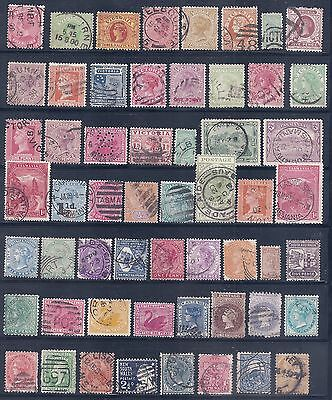 VICTORIA & other states   Selection 56 stamps to 1/- FINE  USED