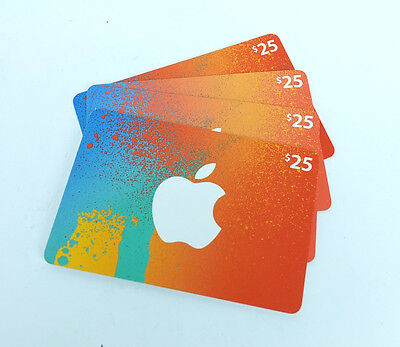 Four $25 Canadian Apple iTunes Gift Cards - $100 for Canadian iTunes Store Only