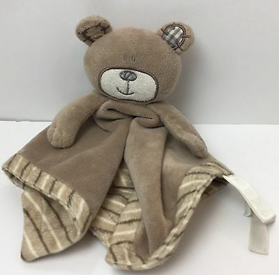 Koala Baby Babies R Us Brown Bear Lovey Security Blanket Patches Stripes 2012