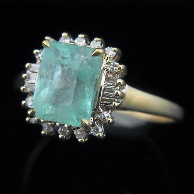 Estate 2.7ct Colombian Emerald Diamonds 14k Yellow Gold Ring Vintage Certified