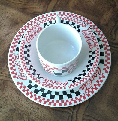 3 piece china coca cola checkered diner soup and salad set
