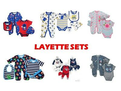 Baby Boys Girls 3-4-5 Piece Layette Sets Babygrows Sleepsuits Bodysuit Vests