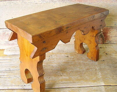 Vintage or Antique WOODEN FOOT STOOL - Country, Pine, Hand Crafted