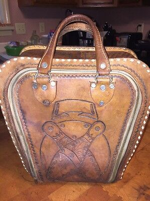 Vintage Hand Tooled Leather Bowling Ball Bag 50's/60's Horse Theme