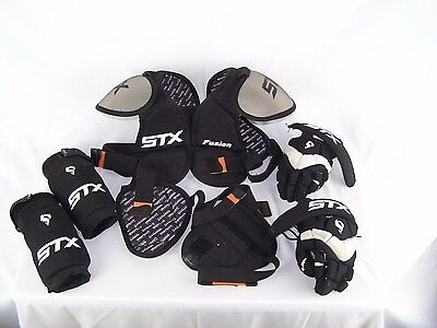 Lot of 7 Lacrosse Chest Pad Protection Gear Elbow Shoulder Gloves STX Fusion yth