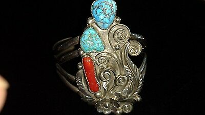 signed sterling Turquoise coral  cuff bracelet southwestern
