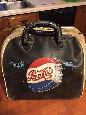 "Vintage Pepsi Cola Leather Bowling Ball Bag ""Rare"" Pepsi Collectible Genuine"