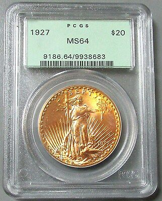 1927 Gold Green Label $20 St Gaudens Coin Pcgs Mint State 64