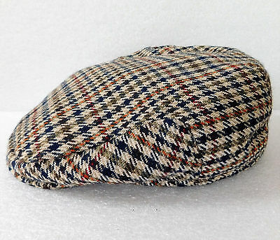Vintage tweed flat cap Quality 1970s mens country 60 cm British Size 7 3/8 XL