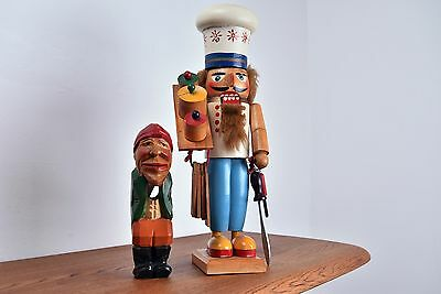 Vintage Wooden Nutcrackers   Chef & Hand Carved Old Man German Drop Jaw